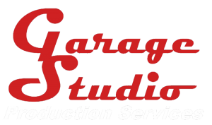 Garage Studio Production Services logo transparent white